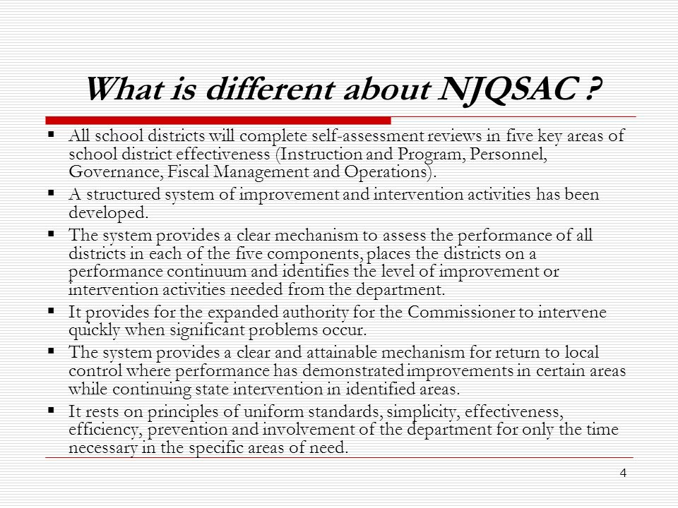 5 Immediate next steps for all districts implementing QSAC in 2009-2010 There are several activities that district administrators can do prior to the full implementation of the NJQSAC monitoring and evaluation system statewide.