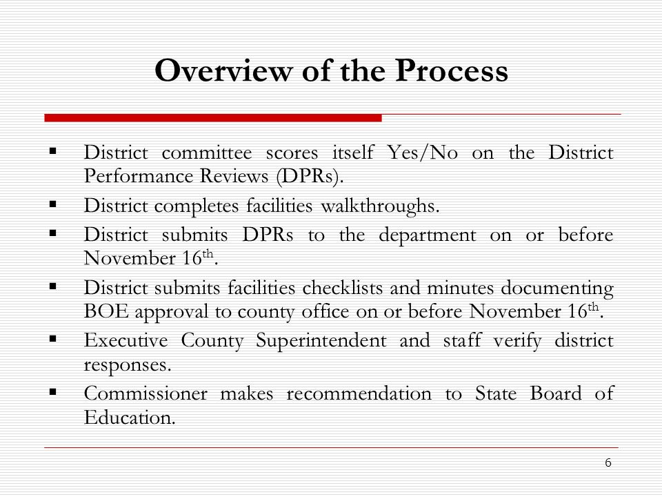 6 Overview of the Process District committee scores itself Yes/No on the District Performance Reviews (DPRs). District completes facilities walkthroug