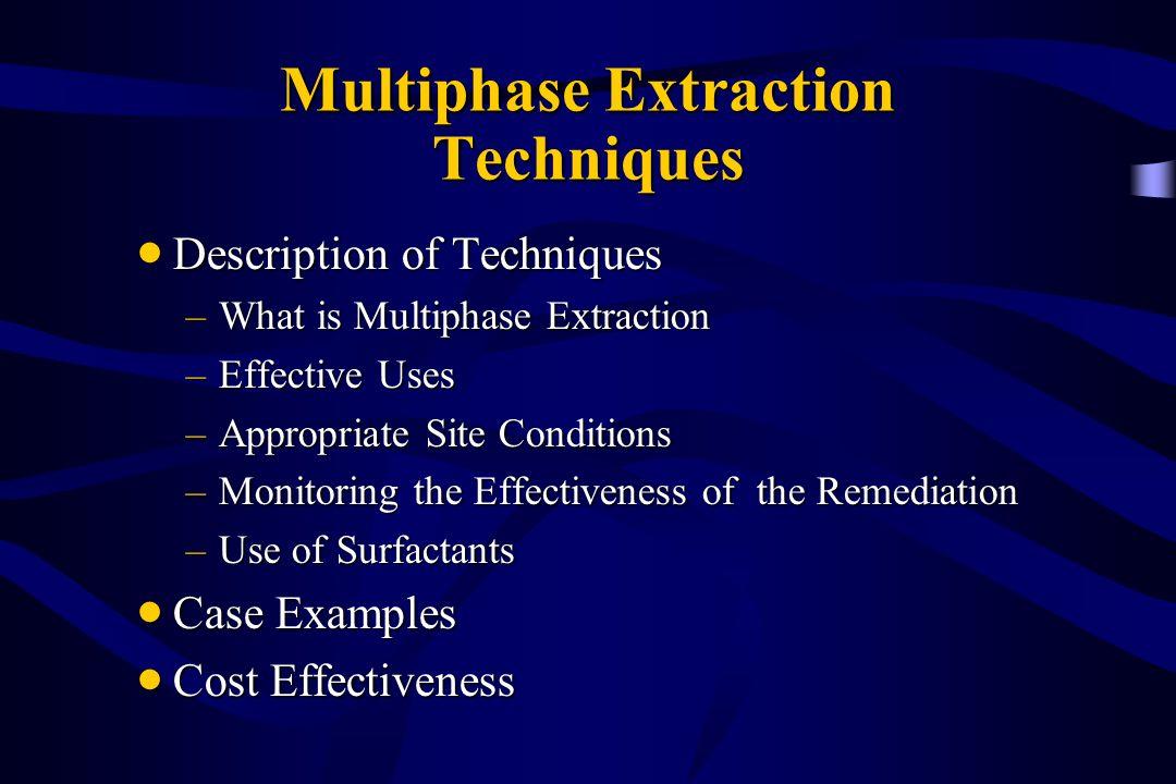 Multiphase Extraction Techniques Description of Techniques Description of Techniques –What is Multiphase Extraction –Effective Uses –Appropriate Site
