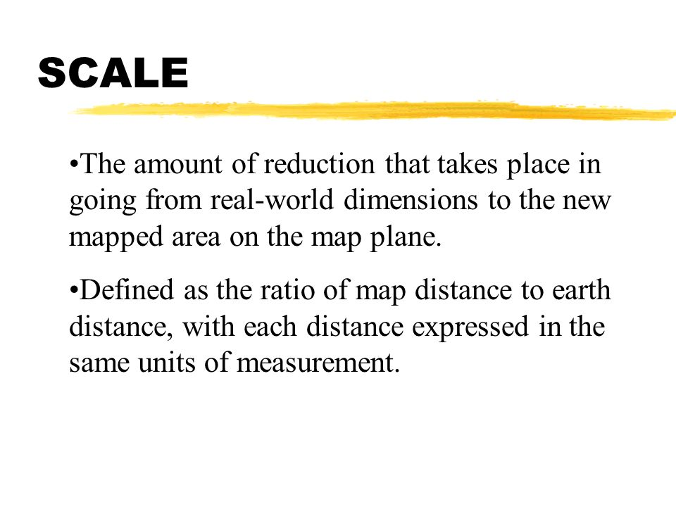 The amount of reduction that takes place in going from real-world dimensions to the new mapped area on the map plane. Defined as the ratio of map dist