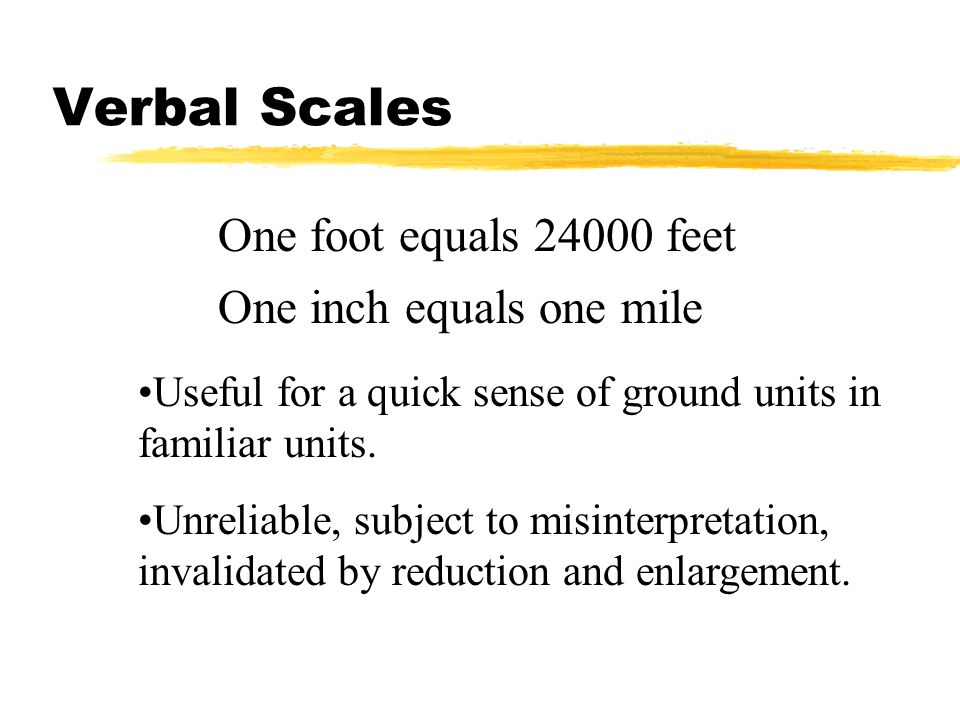 One foot equals 24000 feet One inch equals one mile Useful for a quick sense of ground units in familiar units. Unreliable, subject to misinterpretati