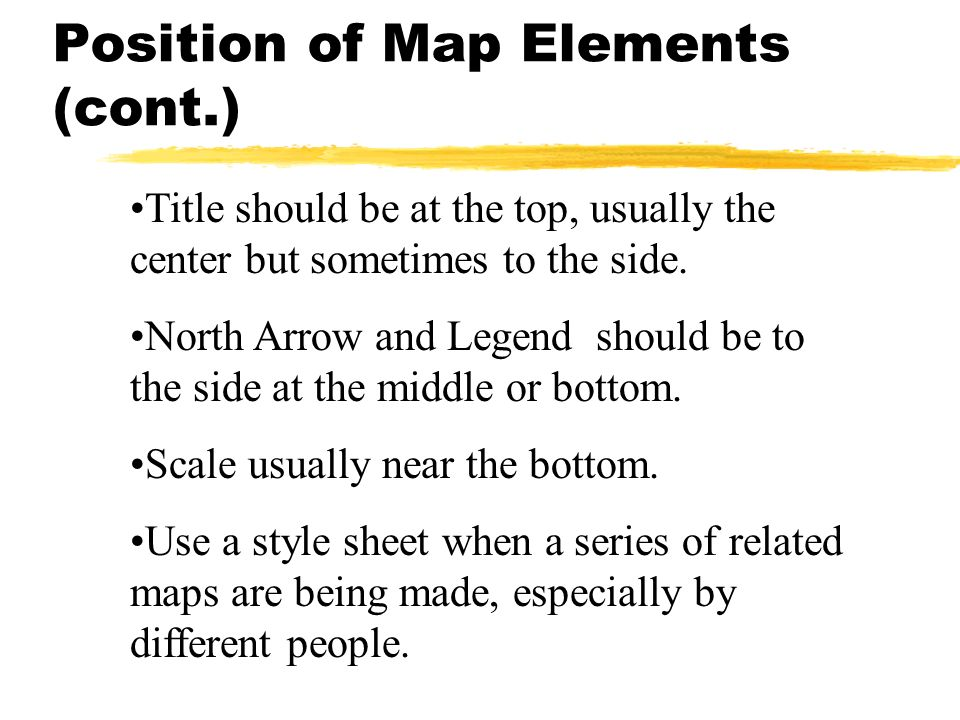Title should be at the top, usually the center but sometimes to the side. North Arrow and Legend should be to the side at the middle or bottom. Scale