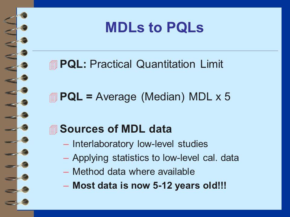 MDLs to PQLs 4 PQL: Practical Quantitation Limit 4 PQL = Average (Median) MDL x 5 4 Sources of MDL data –Interlaboratory low-level studies –Applying s