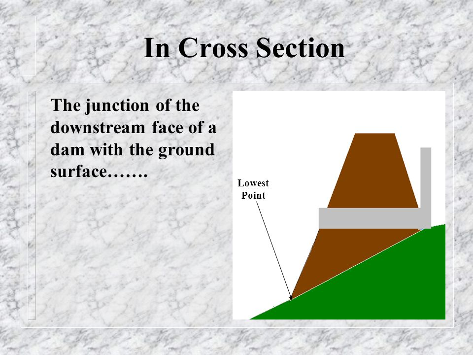 In Cross Section The junction of the downstream face of a dam with the ground surface…….