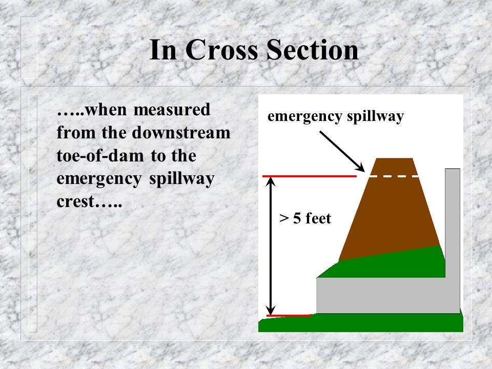 In Cross Section …..when measured from the downstream toe-of-dam to the emergency spillway crest…..