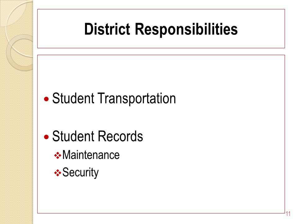 District Responsibilities Student Transportation Student Records Maintenance Security 11