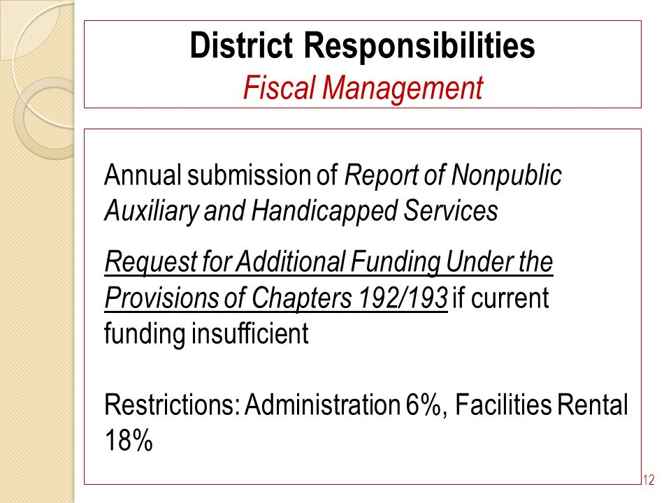 District Responsibilities Fiscal Management Annual submission of Report of Nonpublic Auxiliary and Handicapped Services Request for Additional Funding