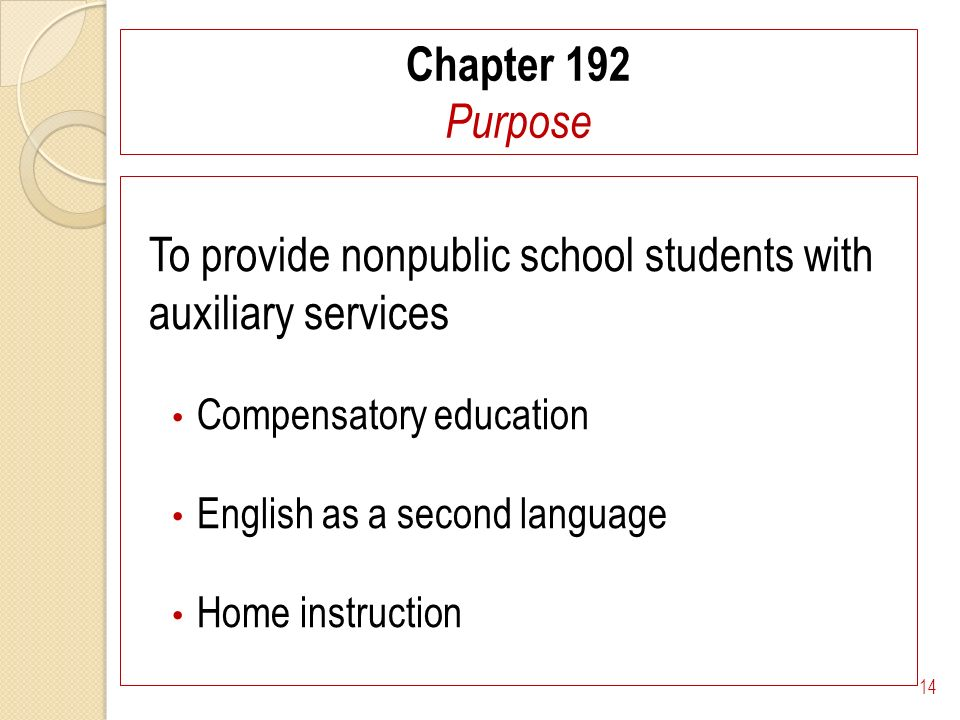 Chapter 192 Purpose To provide nonpublic school students with auxiliary services Compensatory education English as a second language Home instruction