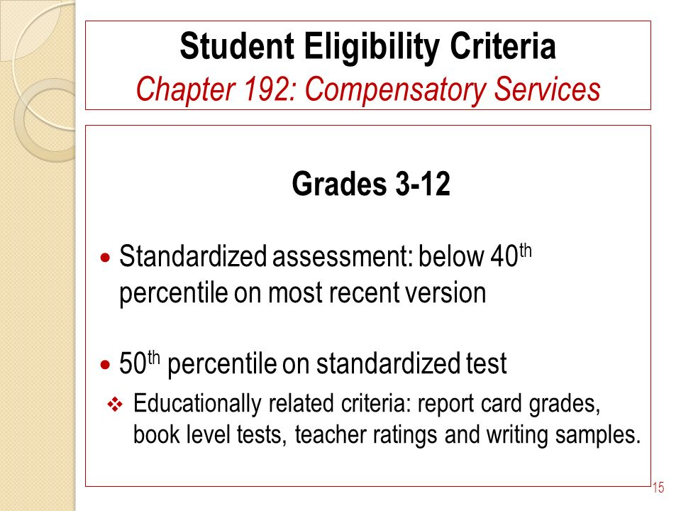 Student Eligibility Criteria Chapter 192: Compensatory Services Grades 3-12 Standardized assessment: below 40 th percentile on most recent version 50 th percentile on standardized test Educationally related criteria: report card grades, book level tests, teacher ratings and writing samples.