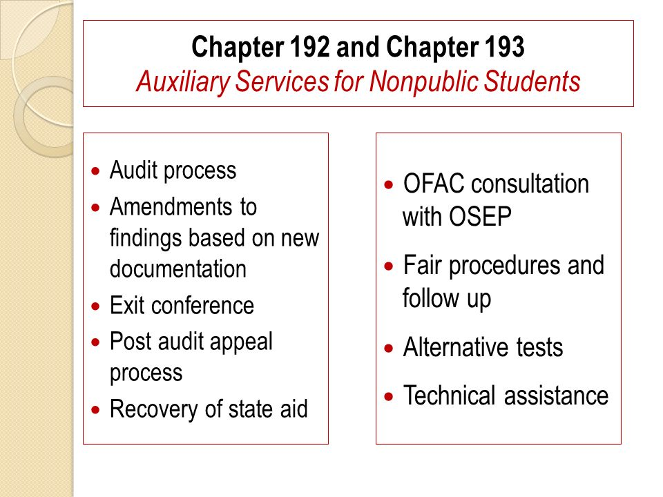 Chapter 192 and Chapter 193 Auxiliary Services for Nonpublic Students Audit process Amendments to findings based on new documentation Exit conference Post audit appeal process Recovery of state aid OFAC consultation with OSEP Fair procedures and follow up Alternative tests Technical assistance