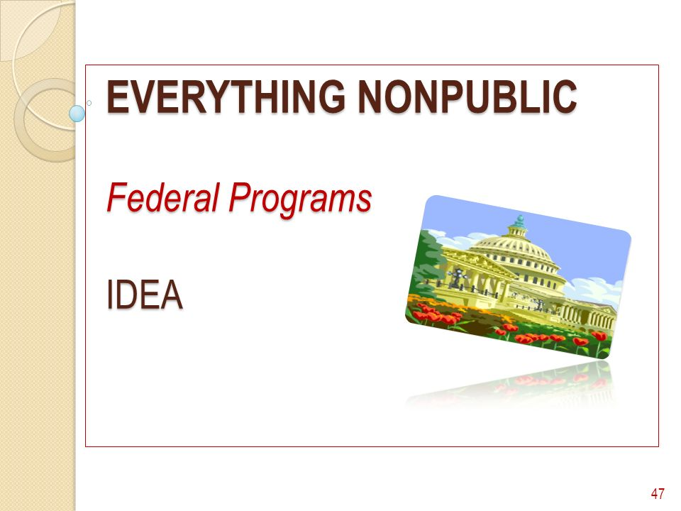 EVERYTHING NONPUBLIC Federal Programs IDEA 47