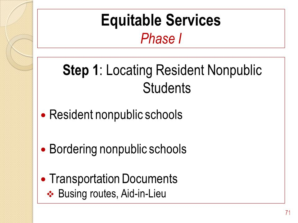 Equitable Services Phase I Step 1 : Locating Resident Nonpublic Students Resident nonpublic schools Bordering nonpublic schools Transportation Documen