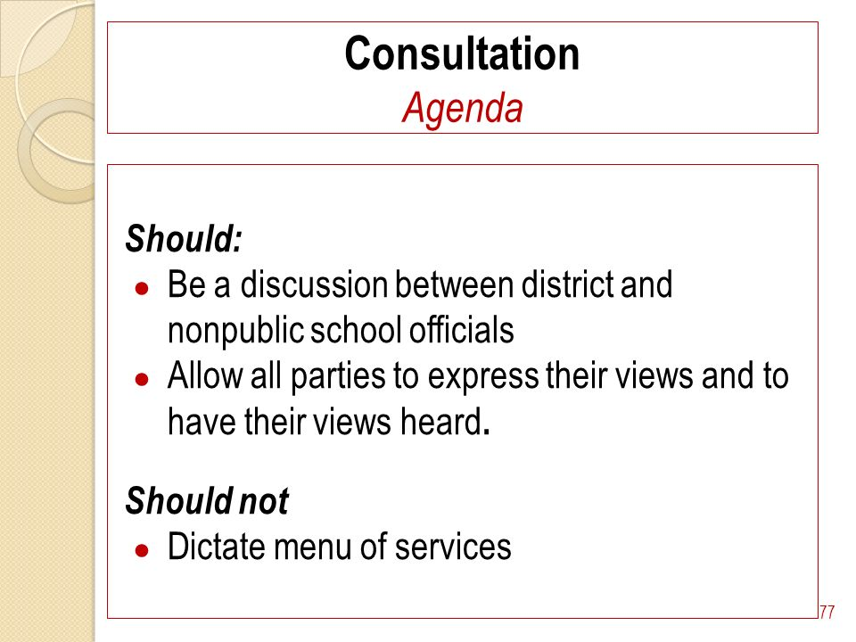 Consultation Agenda Should: Be a discussion between district and nonpublic school officials Allow all parties to express their views and to have their