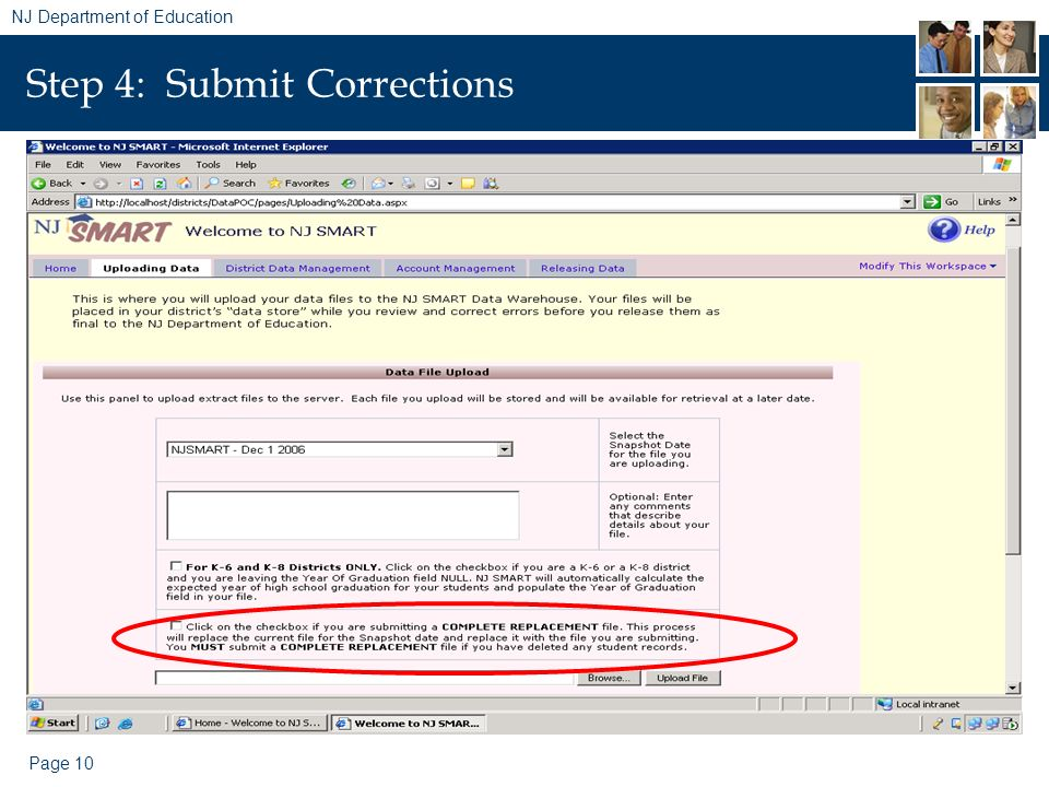Page 10 NJ Department of Education Step 4: Submit Corrections