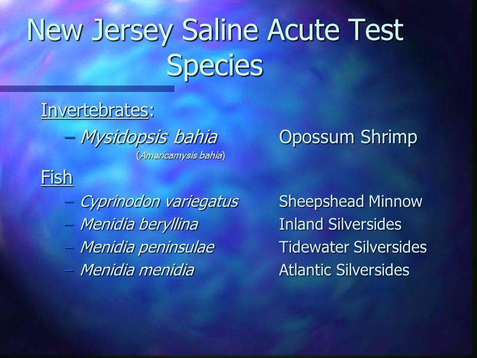 New Jersey Saline Acute Test Species Invertebrates: –Mysidopsis bahia Opossum Shrimp (Americamysis bahia) Fish –Cyprinodon variegatus Sheepshead Minno