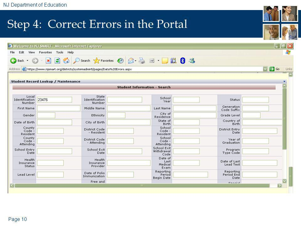 Page 10 NJ Department of Education Step 4: Correct Errors in the Portal