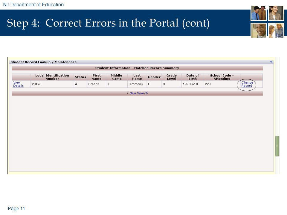 Page 11 NJ Department of Education Step 4: Correct Errors in the Portal (cont)