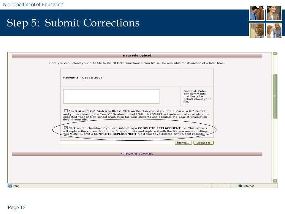 Page 13 NJ Department of Education Step 5: Submit Corrections