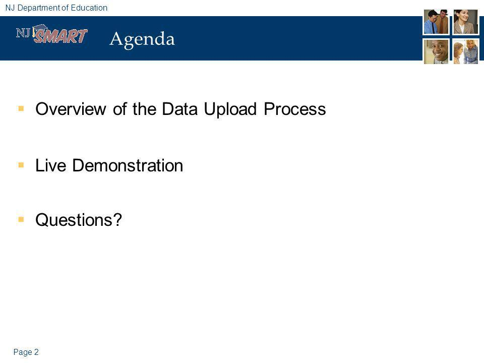 Page 2 NJ Department of Education Agenda Overview of the Data Upload Process Live Demonstration Questions?
