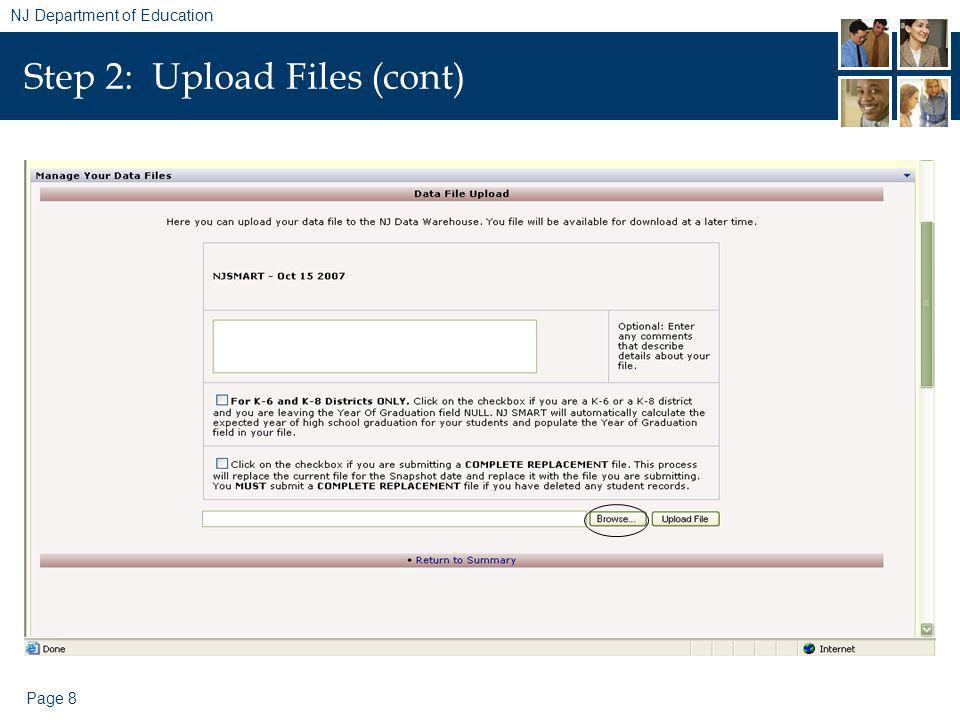 Page 8 NJ Department of Education Step 2: Upload Files (cont)