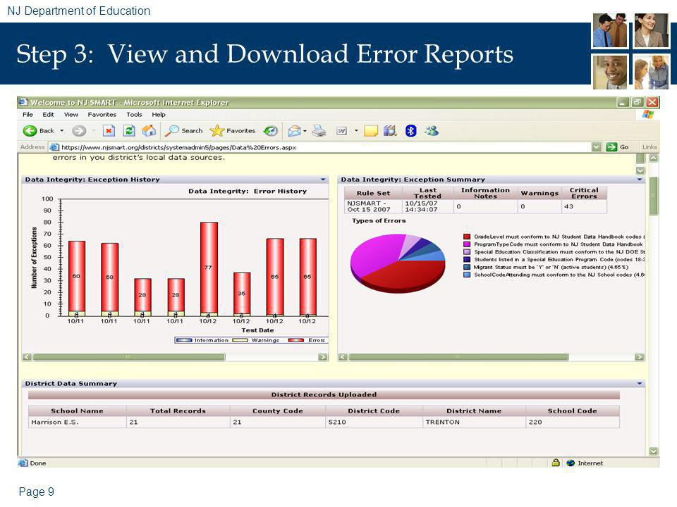Page 9 NJ Department of Education Step 3: View and Download Error Reports