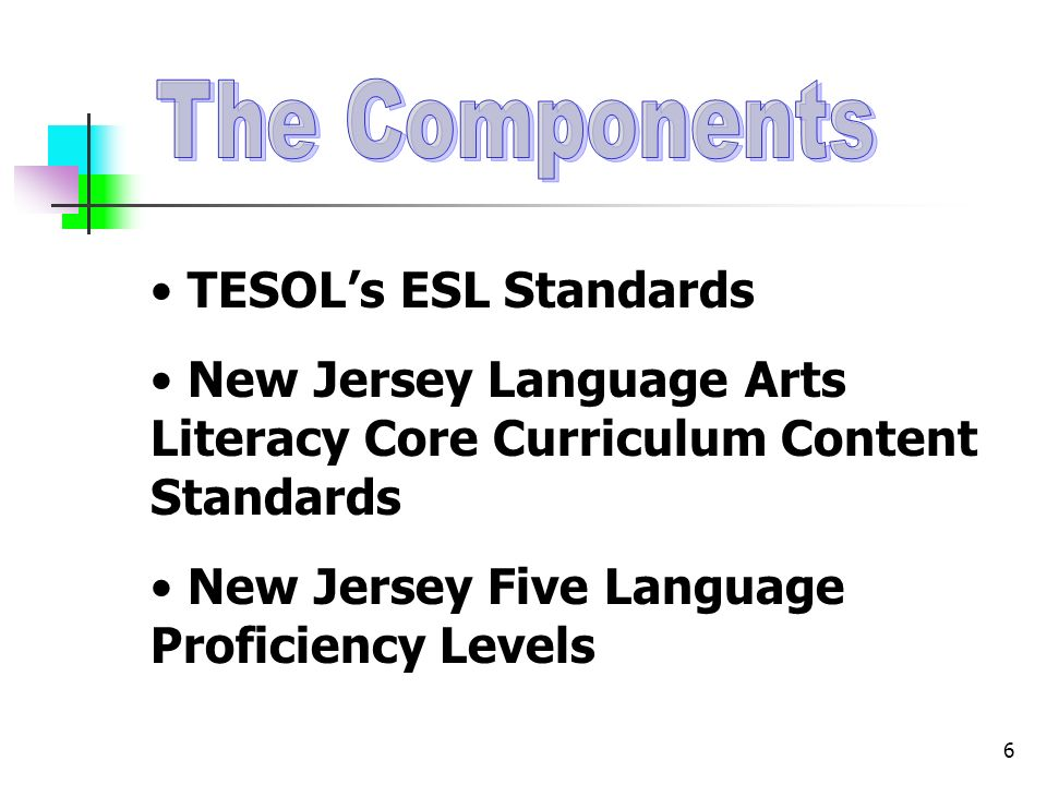 6 TESOLs ESL Standards New Jersey Language Arts Literacy Core Curriculum Content Standards New Jersey Five Language Proficiency Levels