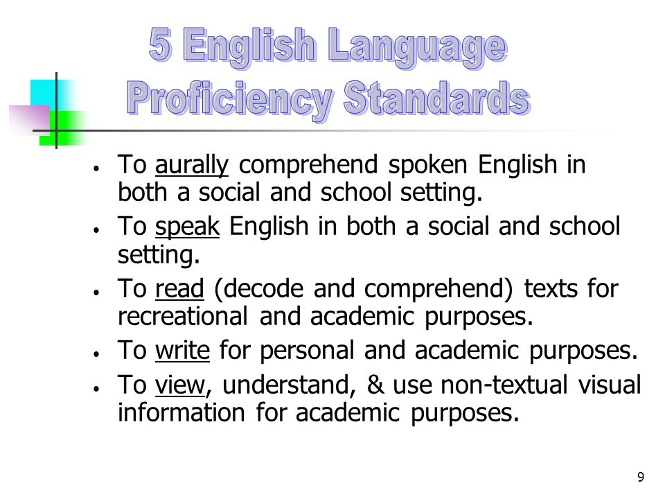 9 To aurally comprehend spoken English in both a social and school setting. To speak English in both a social and school setting. To read (decode and
