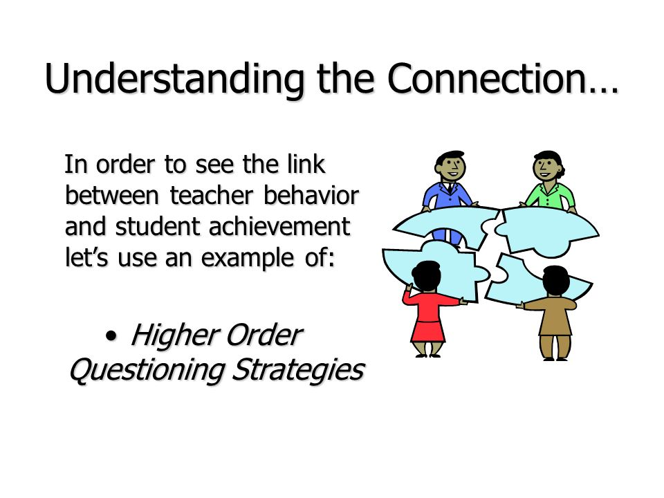 Understanding the Connection… In order to see the link between teacher behavior and student achievement lets use an example of: In order to see the li