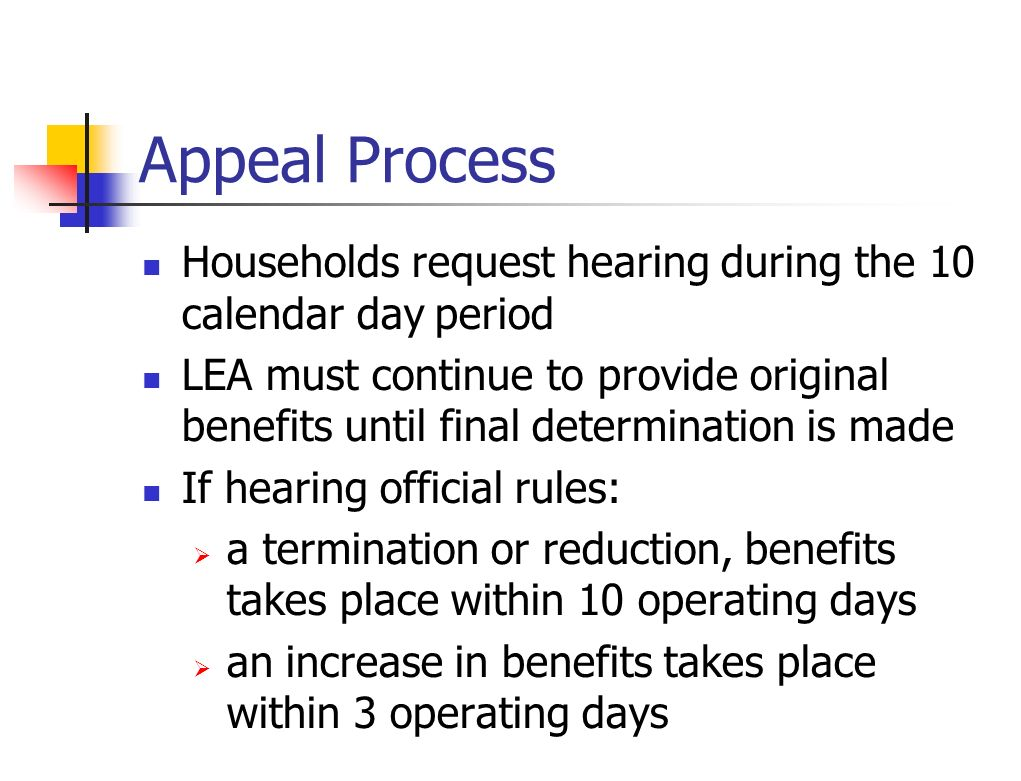 Appeal Process Households request hearing during the 10 calendar day period LEA must continue to provide original benefits until final determination i