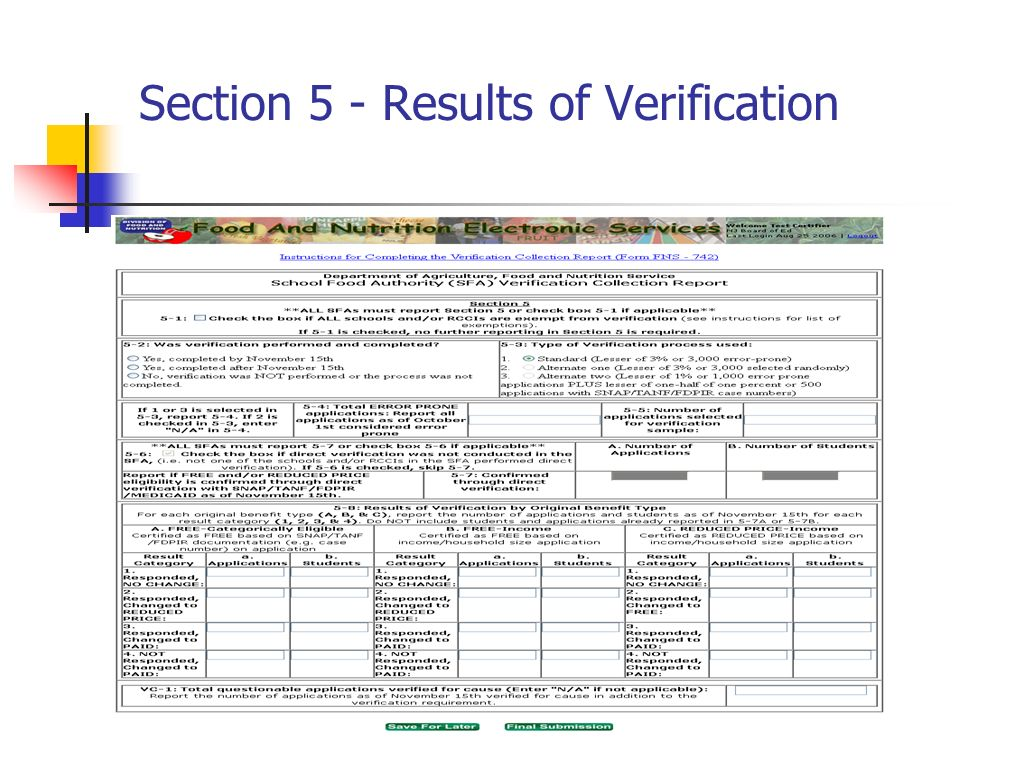 Section 5 - Results of Verification