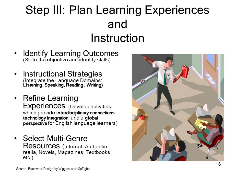 16 Step III: Plan Learning Experiences and Instruction Identify Learning Outcomes (State the objective and identify skills) Instructional Strategies (