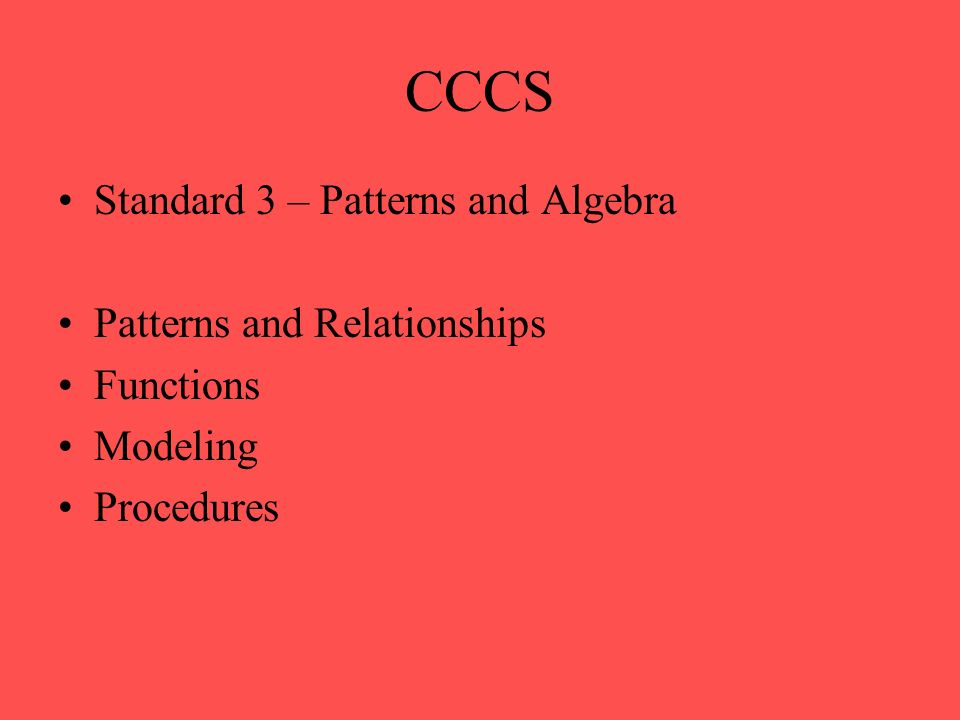 CCCS Standard 4 – Data Analysis, Probability, and Discrete Mathematics Data Analysis (Statistics) Probability Discrete Mathematics – systematic listing and counting Discrete Mathematics – vertex-edge graphs and algorithms