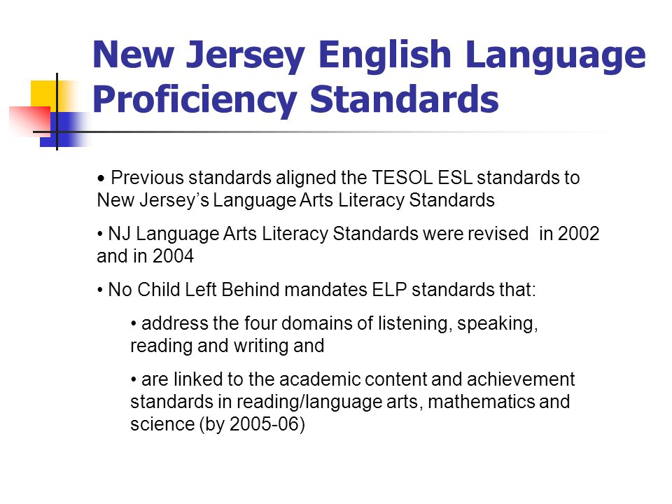 Previous standards aligned the TESOL ESL standards to New Jerseys Language Arts Literacy Standards NJ Language Arts Literacy Standards were revised in