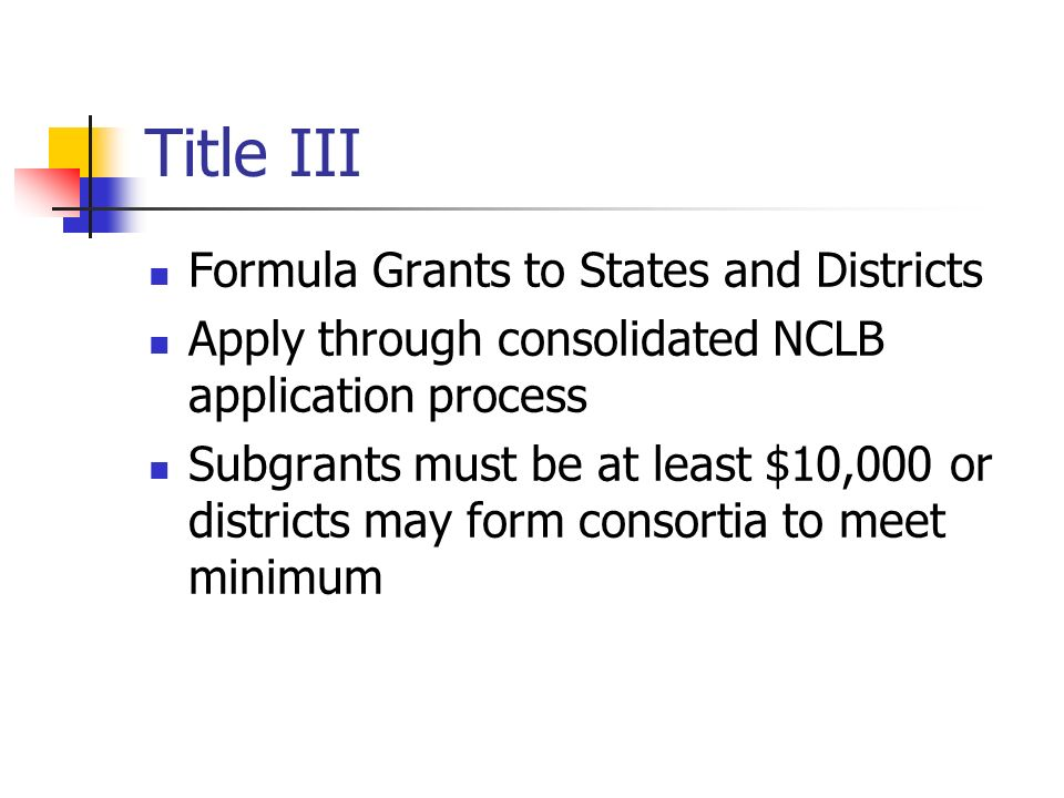 Title III Formula Grants to States and Districts Apply through consolidated NCLB application process Subgrants must be at least $10,000 or districts m