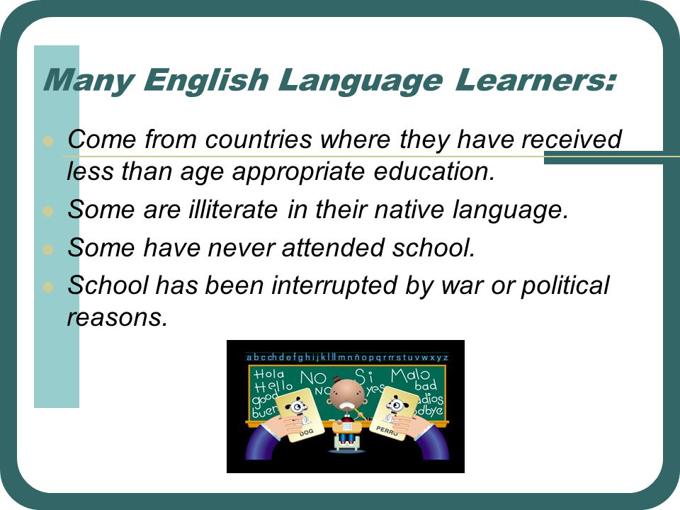 Many English Language Learners: Come from countries where they have received less than age appropriate education. Some are illiterate in their native
