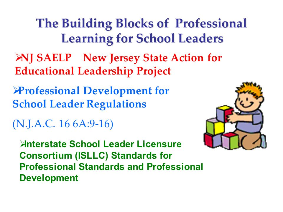 NJ SAELP New Jersey State Action for Educational Leadership Project Professional Development for School Leader Regulations (N.J.A.C.