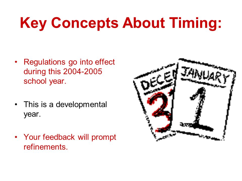 Key Concepts About Timing: Regulations go into effect during this 2004-2005 school year.