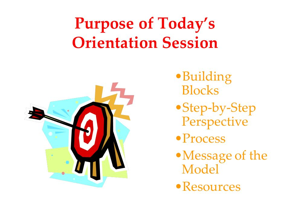 Purpose of Todays Orientation Session Building Blocks Step-by-Step Perspective Process Message of the Model Resources