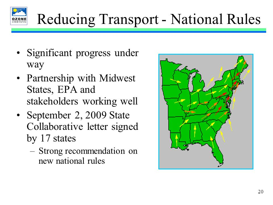 20 Reducing Transport - National Rules Significant progress under way Partnership with Midwest States, EPA and stakeholders working well September 2, 2009 State Collaborative letter signed by 17 states –Strong recommendation on new national rules