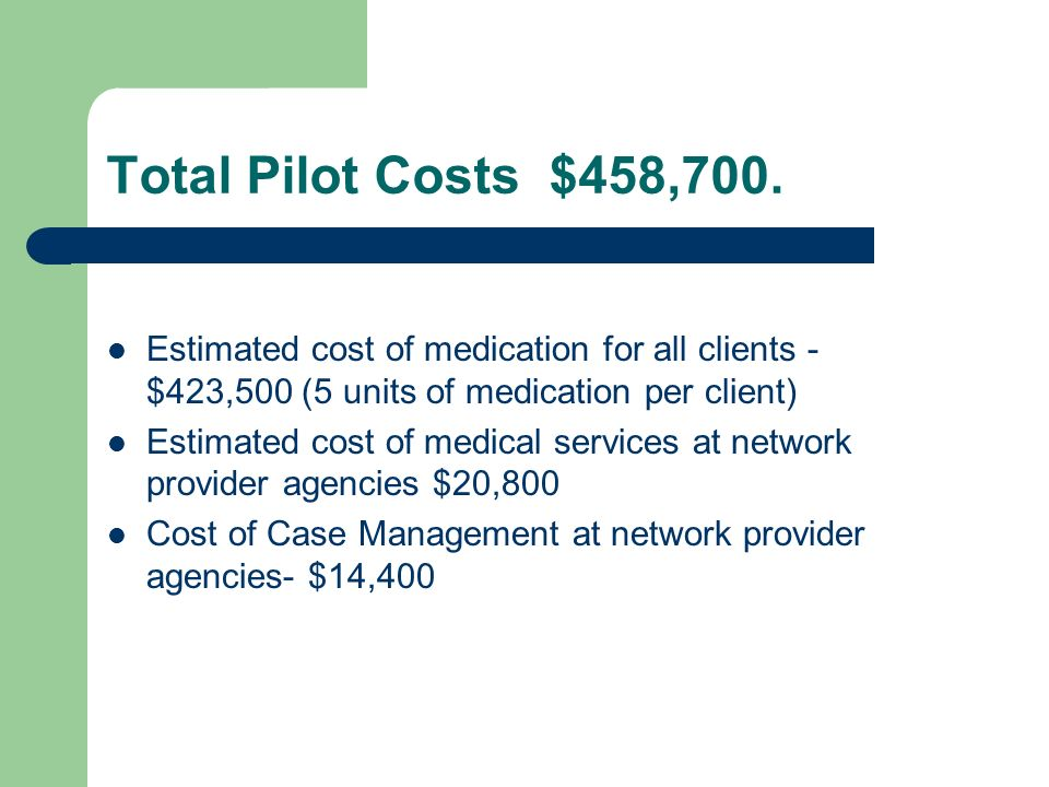 Total Pilot Costs $458,700. Estimated cost of medication for all clients - $423,500 (5 units of medication per client) Estimated cost of medical servi