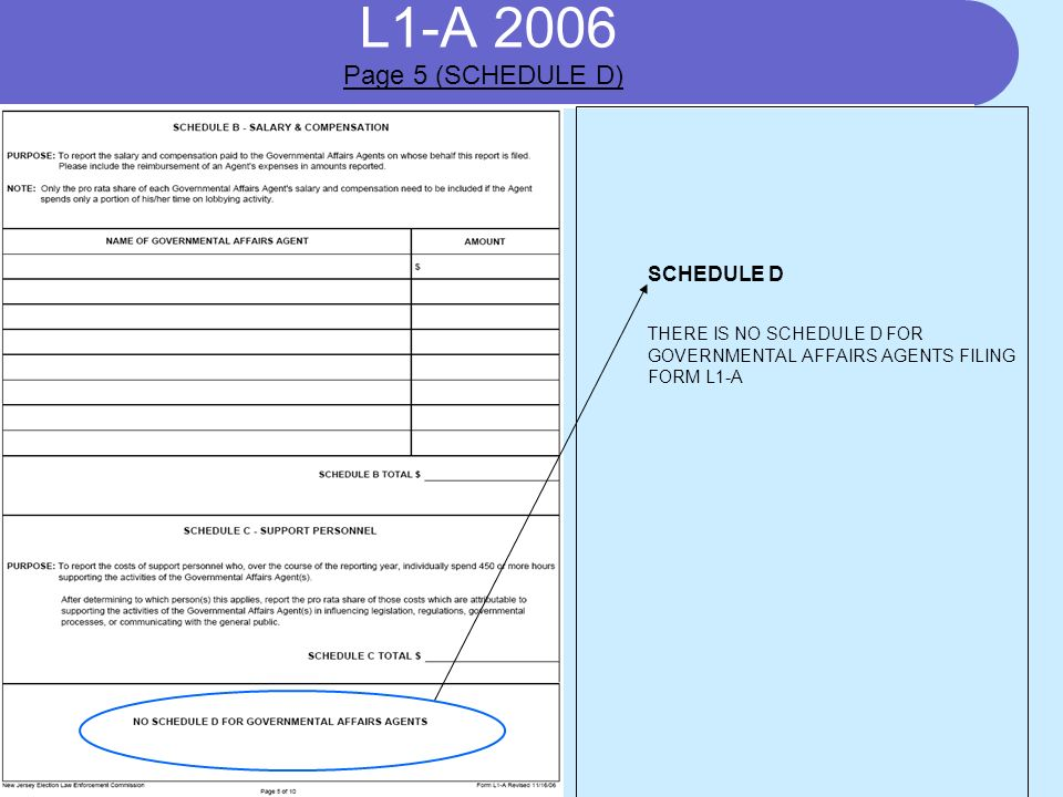 L1-A 2006 SCHEDULE D THERE IS NO SCHEDULE D FOR GOVERNMENTAL AFFAIRS AGENTS FILING FORM L1-A Page 5 (SCHEDULE D)
