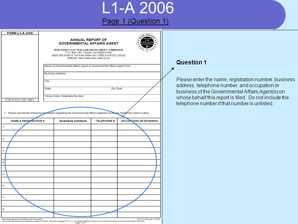 L1-A 2006 Question 1 Please enter the name, registration number, business address, telephone number, and occupation or business of the Governmental Affairs Agent(s) on whose behalf this report is filed.