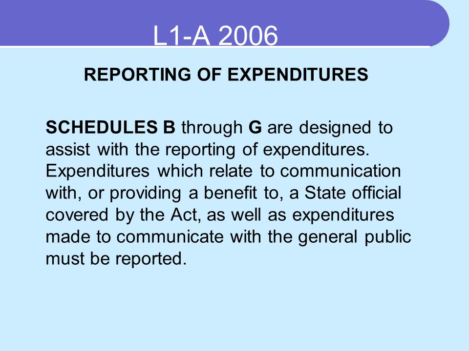 REPORTING OF EXPENDITURES SCHEDULES B through G are designed to assist with the reporting of expenditures.