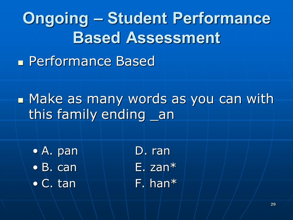 29 Ongoing – Student Performance Based Assessment Performance Based Performance Based Make as many words as you can with this family ending _an Make as many words as you can with this family ending _an A.
