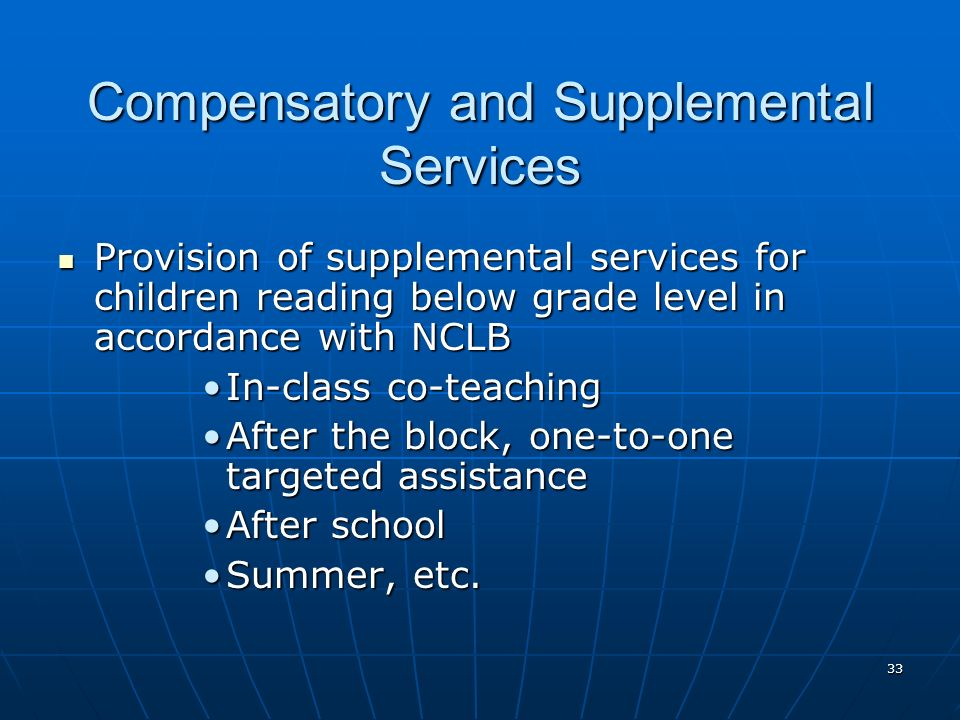33 Compensatory and Supplemental Services Provision of supplemental services for children reading below grade level in accordance with NCLB Provision of supplemental services for children reading below grade level in accordance with NCLB In-class co-teachingIn-class co-teaching After the block, one-to-one targeted assistanceAfter the block, one-to-one targeted assistance After schoolAfter school Summer, etc.Summer, etc.