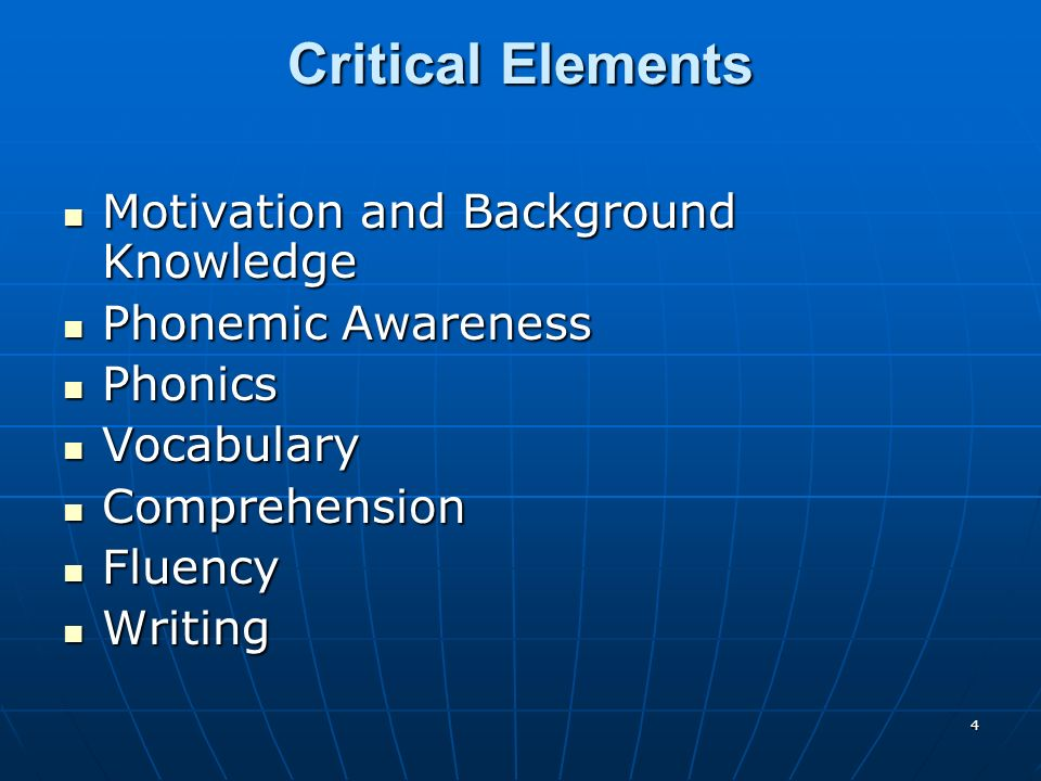 4 Critical Elements Motivation and Background Knowledge Motivation and Background Knowledge Phonemic Awareness Phonemic Awareness Phonics Phonics Vocabulary Vocabulary Comprehension Comprehension Fluency Fluency Writing Writing