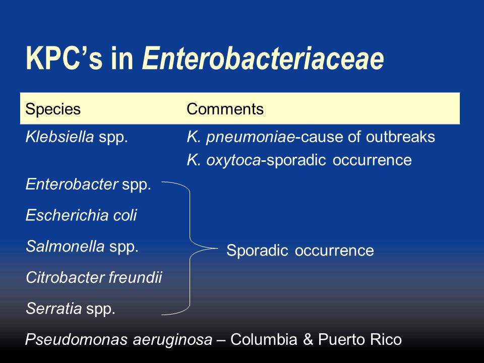 KPCs in Enterobacteriaceae SpeciesComments Klebsiella spp.K. pneumoniae-cause of outbreaks K. oxytoca-sporadic occurrence Enterobacter spp. Sporadic o