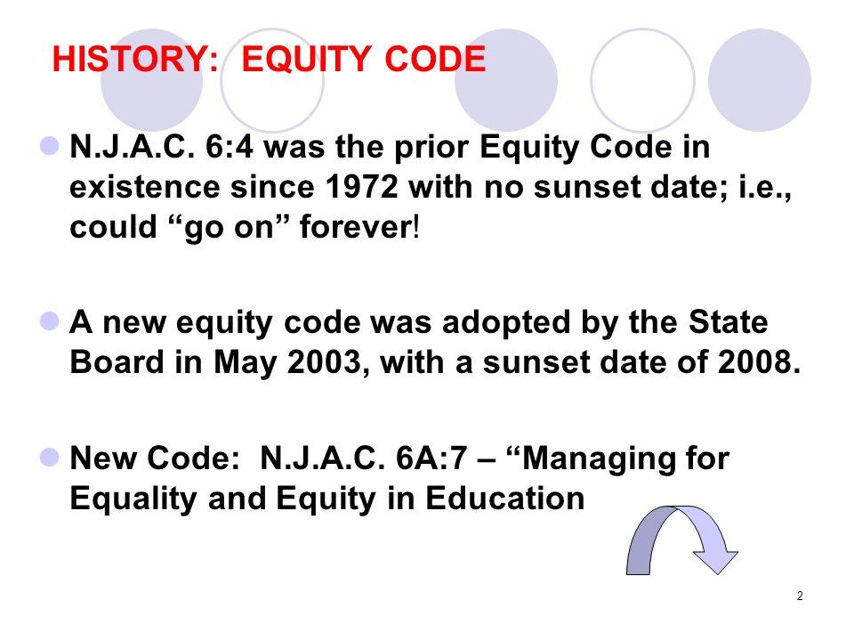 2 HISTORY: EQUITY CODE N.J.A.C.