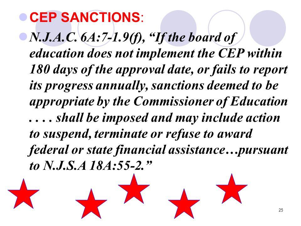 25 CEP SANCTIONS: N.J.A.C.