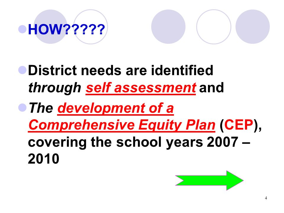 4 HOW????? District needs are identified through self assessment and The development of a Comprehensive Equity Plan (CEP), covering the school years 2